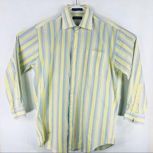 Nautica Mens Striped yellow M button down shirt
